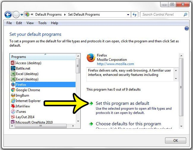 how to set the default web browser in windows 7