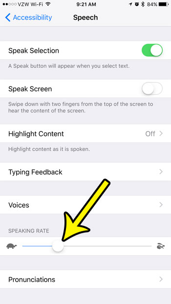 how to slow down speech on an iphone 7