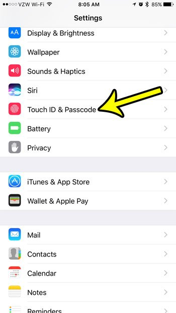 open the iphoen touch id and passcode menu