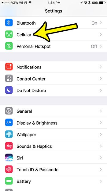 open the iphone cellular menu