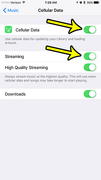 how to enable cellular data streaming for music on iphone