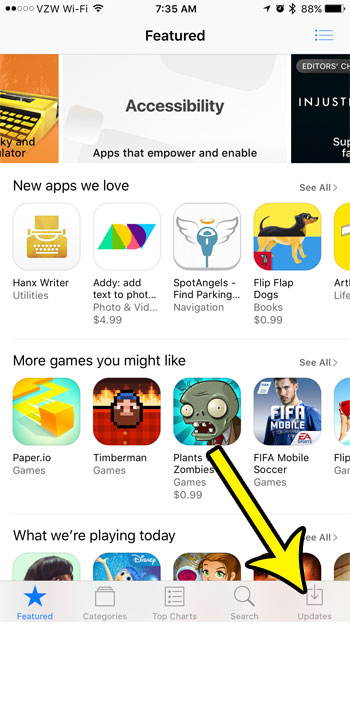 open the updates tab on the app store