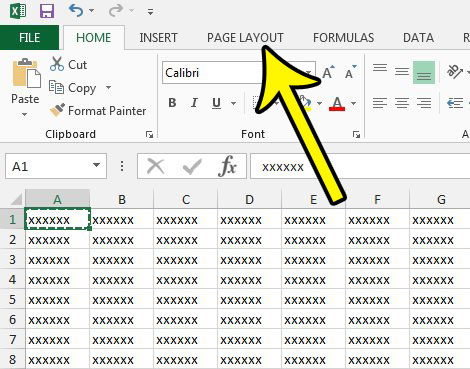 open the excel 2013 page layout tab