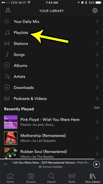 select the playlists option