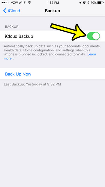 how to disable the icloud backup on an iphone 7