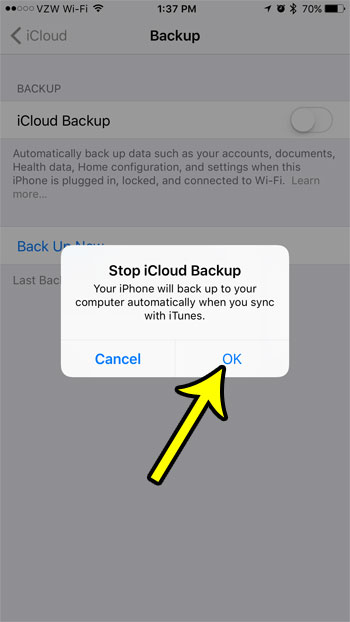 how to turn off the icloud backup on an iphone 7