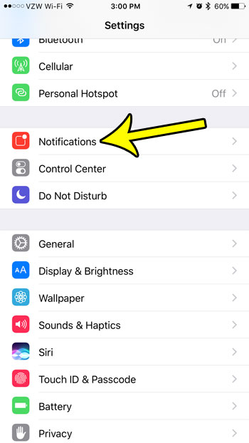 open the notifications menu