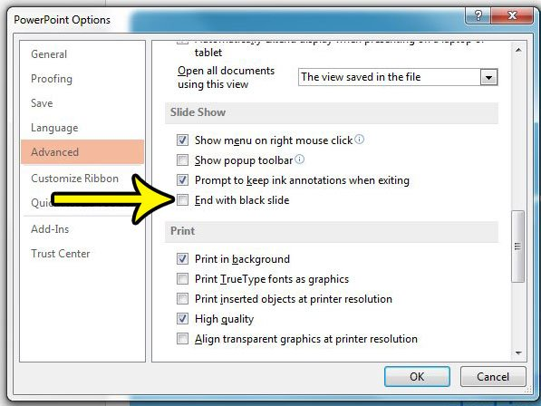 how to end with the last slide in powerpoint 2013