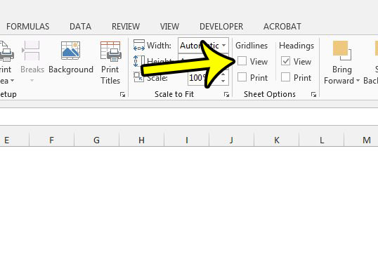 how to hide gridlines in excel 2013