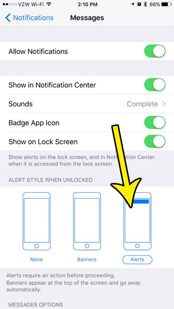enable alert notifications for the iphone messages app