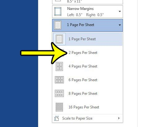 how to print two pages on one sheet in word 2013