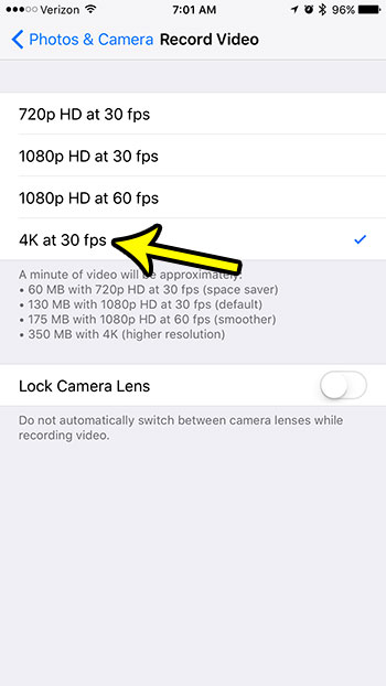 how to record video in 4k on an iphone 7