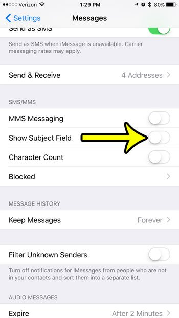 how to remove the subject field from text messages on iphone 7