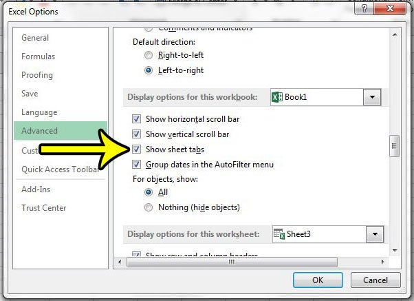 how to show worksheet tabs in excel 2013