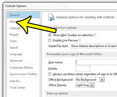 open the mail menu in outlook options
