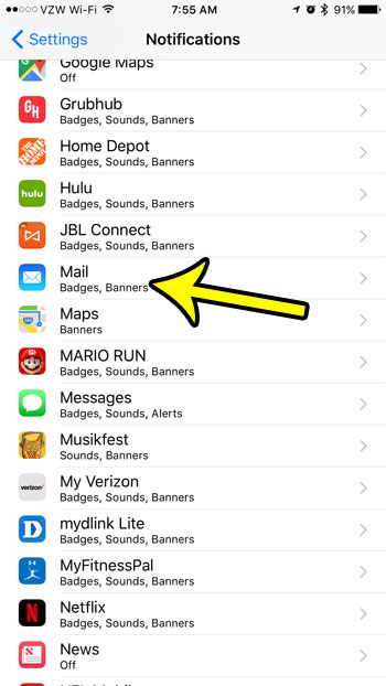 open iphone mail notifications menu