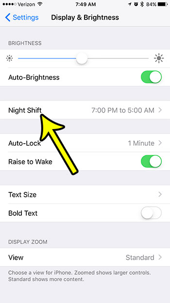 open the iphone night shift menu