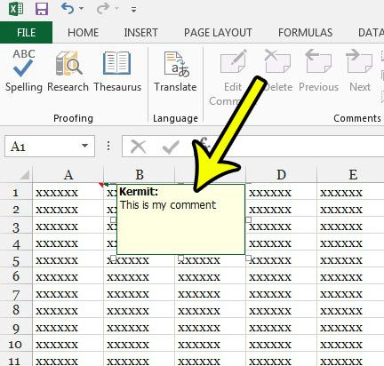 how to add a comment in excel 2013