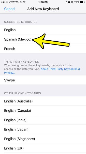 how to add the spanish keyboard on an iphone 7