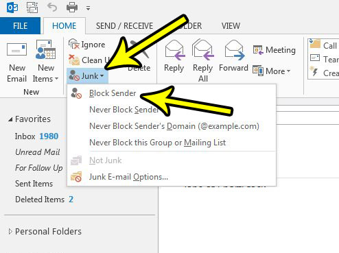 how to block a sender in outlook 2013