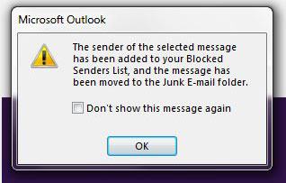 add someone to blocked sender list in outlook