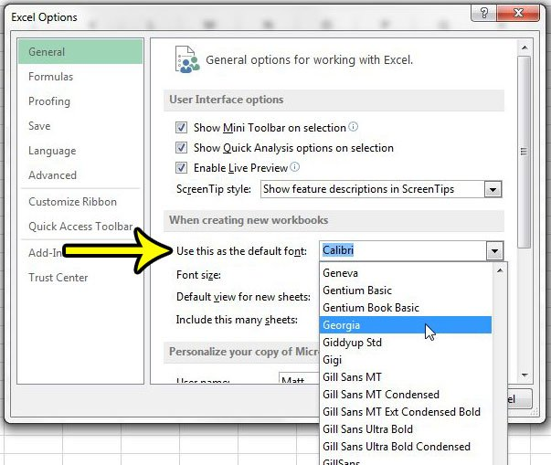 how to change the default font in excel 2013