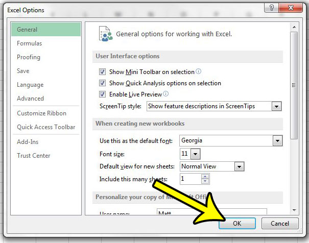 how to set a new default font in excel 2013