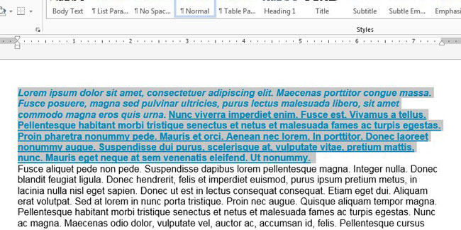 how to remove text formatting in word 2013