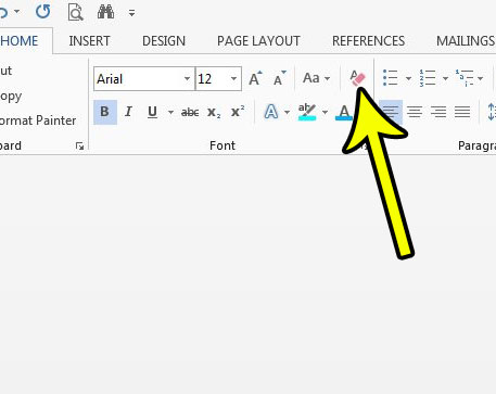 how to clear formatting in word 2013