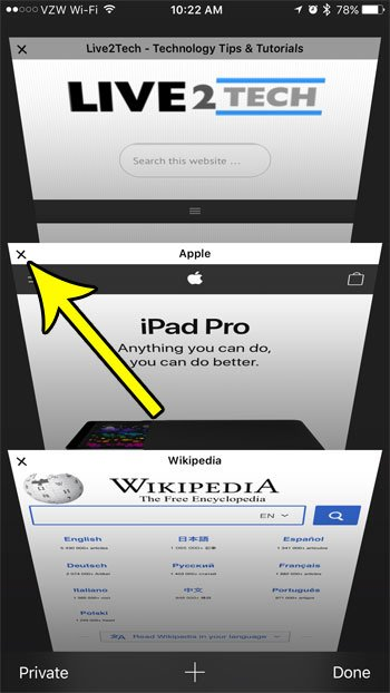 how to close tabs in safari on iphone 7