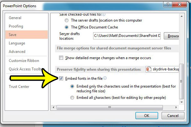 how to embed fonts into the file in powerpoint 2013