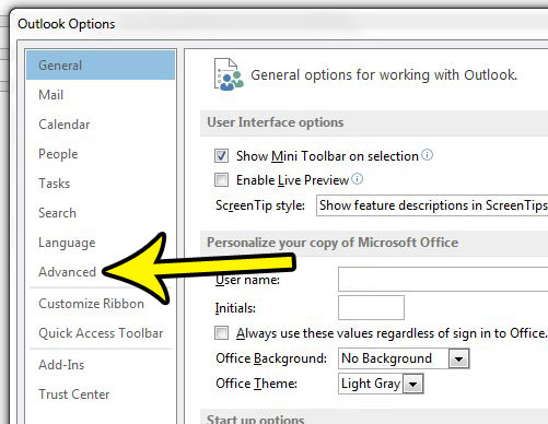 click the advanced tab in outlook 2013