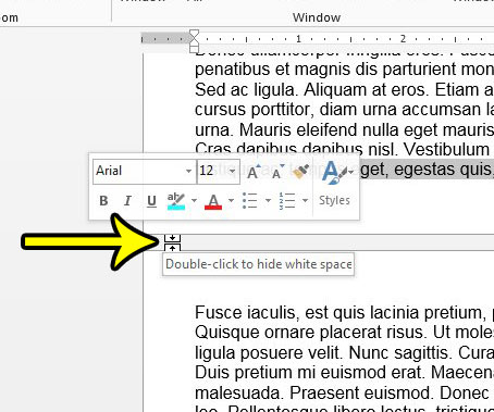 hide the space between pages in ptiny layout view in word 2013