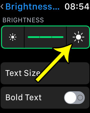 how to make screen brighter on apple watch