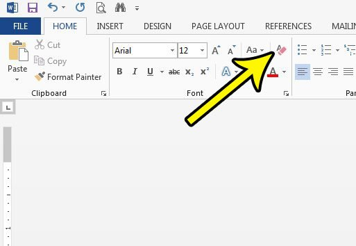 how to clear all formatting in word 2013