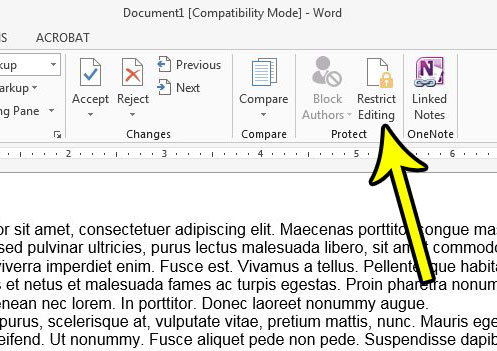 click the restrict editing button in word 2013