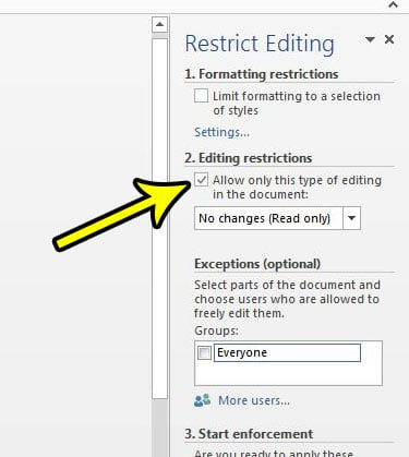 word 2013 editing restrictions