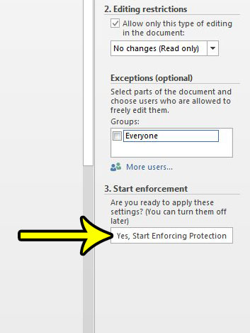 how to restrict editing in word 2013