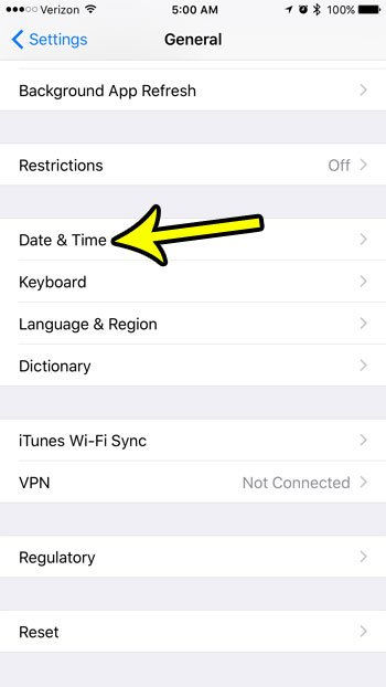 iphone date and time menu