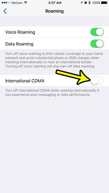how to turn off international cdma on an iphone 7
