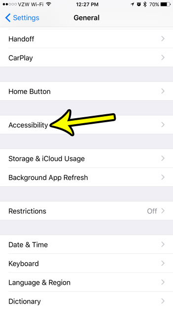 open the iphone's accessibility menu