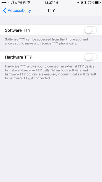 how to turn off tty on iphone 7