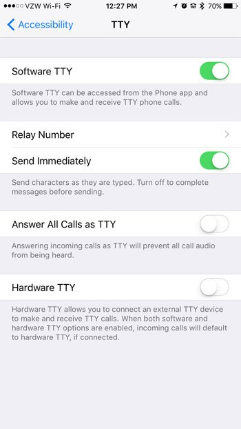 software tty options on iphone 7