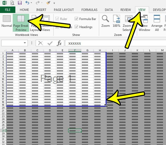 how to adjust a print area in excel 2013