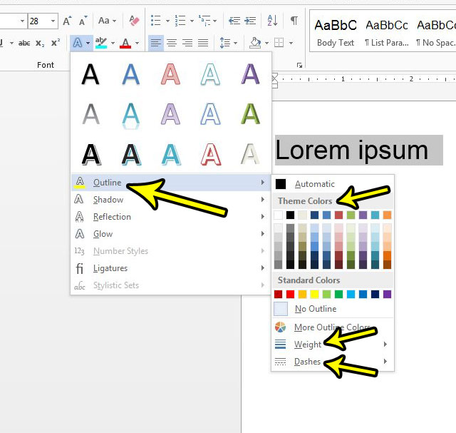 how to add an outline to text in word 2013