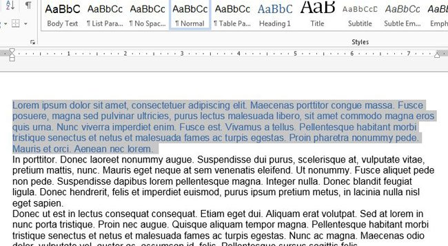 select your text in word 2013