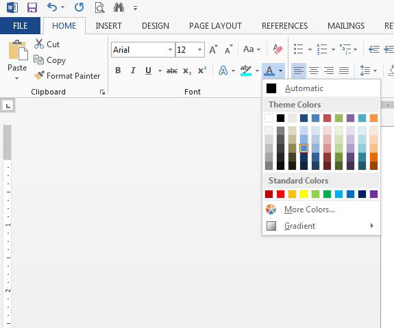 how to change the font color in word 2013