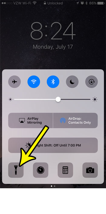 enable flashlight on iphone lock screen