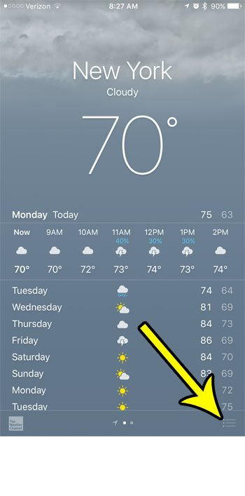 delete a city from the iphone 7 weather app
