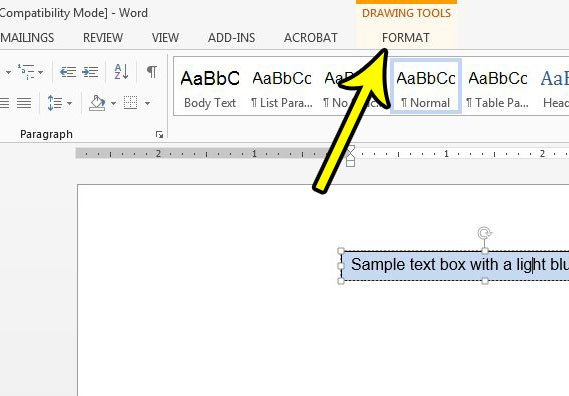 word 2013 text box fill color